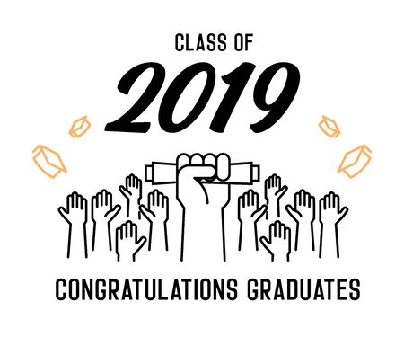 Graduation Day. Class of 2019 celebration. Graduates celebrating and throwing their academic hats into the air. End of academic year. Hand grabbing diploma certificate as a sign of success. - Vectorial 版權商用圖片 - 126215378