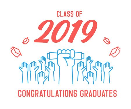 Graduation Day. Class of 2019 celebration. Graduates celebrating and throwing their academic hats into the air. End of academic year. Hand grabbing diploma certificate as a sign of success. - Vectorial 版權商用圖片 - 126215384