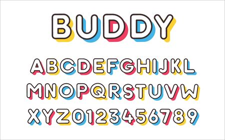 Vector modern cool bold font with colorful trendy shadows. Alphabet and numbers set