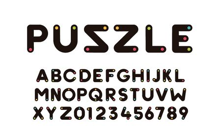 Vector modern cool font with colorful trendy dot effect. Alphabet and numbers set