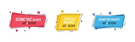 Geometric shapes with abstract elements and place for text. Vector graphic design illustrations for advertising, sales, marketing, design and art projects, posters