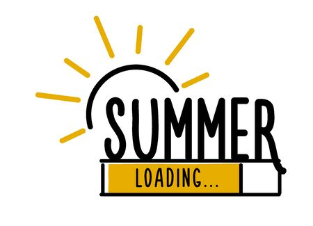 Doodle Summer Loading illustration screen. Progress bar almost reaching summer. Vector illustration background banner in doodle style
