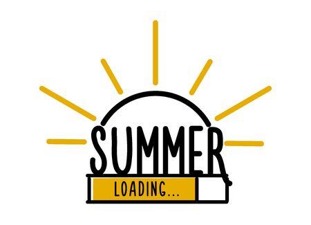 Doodle Summer Loading illustration screen. Progress bar almost reaching summer. Vector illustration background banner in doodle style