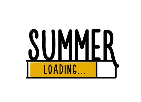 Doodle Summer Loading illustration screen. Progress bar almost reaching summer. Vector illustration background banner in doodle style Stock Vector - 126216863