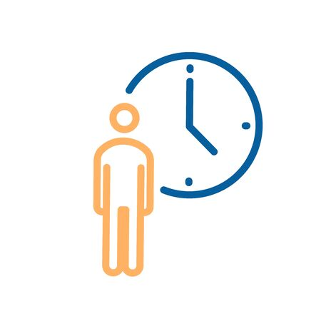 Person with clock icon. Vector thin line illustration for concepts of business, delivery, order, waiting, patience, appointments, events schedule
