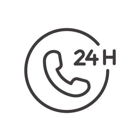 24 hours phone call service thin line icon. Vector design, easily editable. Always open and available twenty four hours.