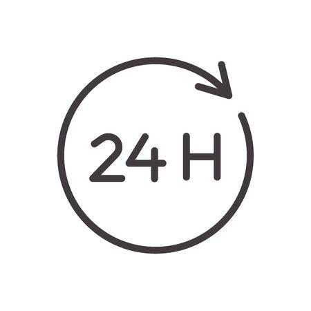 24 hours thin line icon. Vector design, easily editable. Always open twenty four hour service.