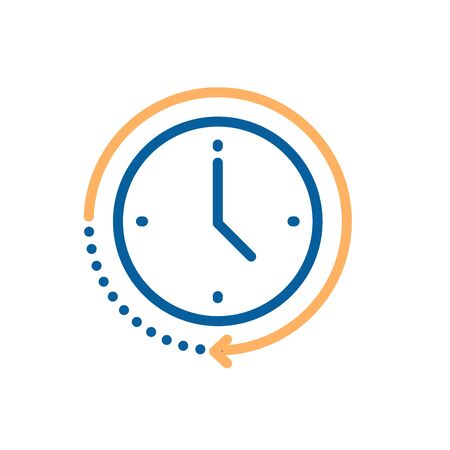 Clock icon with circular motion shape with arrow indicating passage of time. Vector illustration for concepts of time, progress, deadline, express delivery, time limit, urgency Illustration