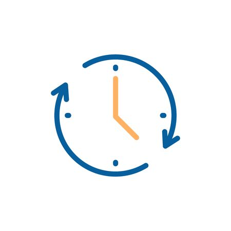 Clock icon with circular motion shape with arrow indicating passage of time. Vector illustration for concepts of time, progress, deadline, express delivery, time limit, urgency 向量圖像
