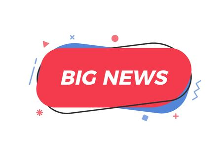 Big News text in trendy geometric shape. Vector element for announcements, breaking news, newspaper, television, social media, business, marketing, promotions