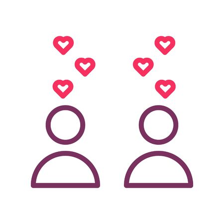 Trendy thin line icons with a couple in love with hearts floating. Vector illustration for events like weddings, dating, valentine's day, honeymoon. Illustration