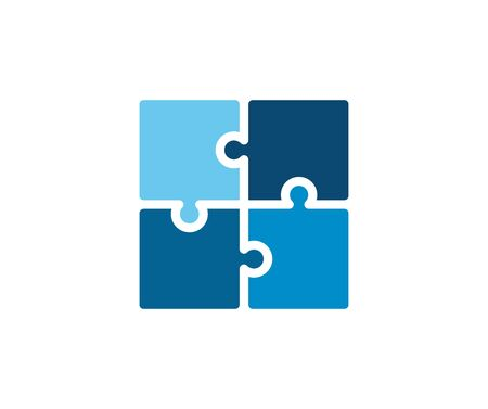 Trendy flat corporate blue puzzle icon. Vector illustration of four puzzle matching pieces for concepts of games, toys, business and start up strategies and solutions 向量圖像