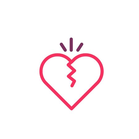Broken heart icon. Vector trendy thin line illustration for concepts of love, cheating and romantic problems Illustration