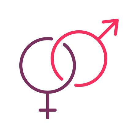 Gender symbol icons for male and female. Vector thin line illustration for love, sexuality, romance 向量圖像