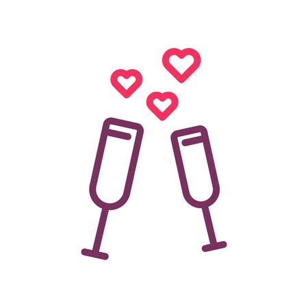 2 glasses toasting with floating hearts on a romantic date. Vector thin line icon illustration for valentines day, love, romance, dating, wedding, honeymoon Illustration
