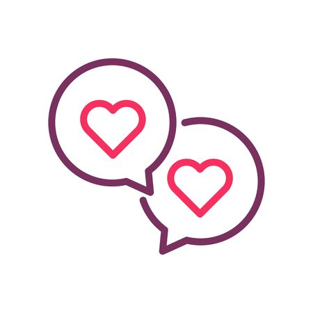 two speech bubbles with hearts. Vector trendy line icon for romance, love, valentines day, online dating, wedding