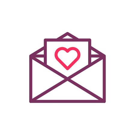 Trendy thin line envelope with heart icon. Vector illustration for wedding invitations, valentines day, love, romance, messages, dating 向量圖像