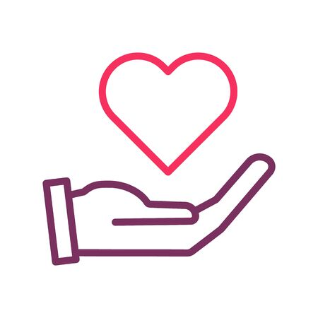 Hand holding heart icon. Vector trendy thin line icon for concepts of love, romance, health, donation, volunteering, valentine's day Illustration