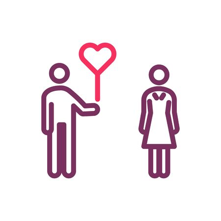 Boy giving a heart love balloon to a girl. Vector trendy thin line icon for love, romance, valentine's day, wedding, honeymoon