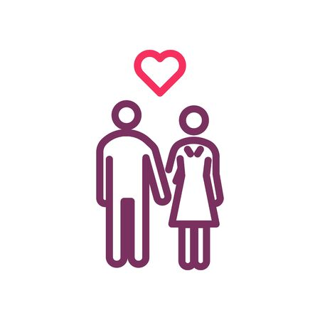 Man and woman holding hands in love. Vector outline icon for love, romance, valentines day, wedding, honeymoon