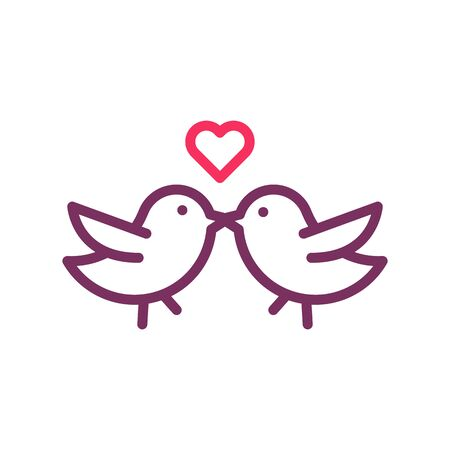 Cute little birds kissing in love. Vector trendy thin line icon for valentine's day, love, romance, wedding, honeymoon