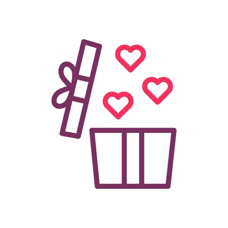 Gift box with hearts inside. Vector thin line icon for valentine's day, love, romance, dating, wedding, honeymoon