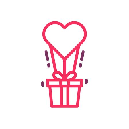 Love gift delivered by heart balloon icon. Vector trendy thin line illustration for valentine's day, love, romance, dating, weddings