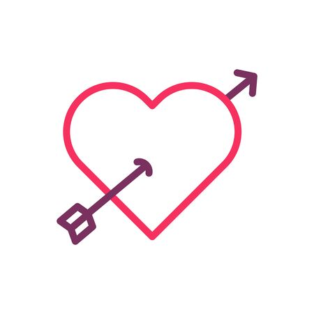 Trendy heart with a cupid arrow icon. Vector trendy thin line illustration for love, romance, valentines day, wedding, etc