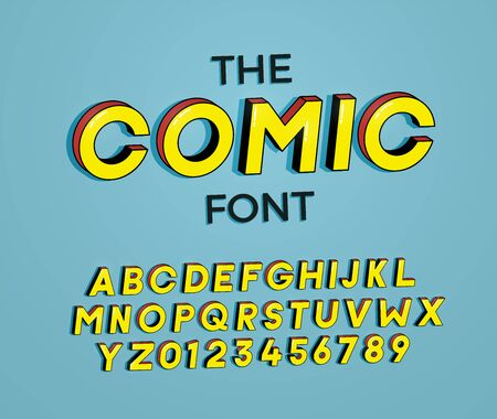 The Comic font. Vector illustration 3d design. Letters and numbers design with super heroes comic book effect 向量圖像