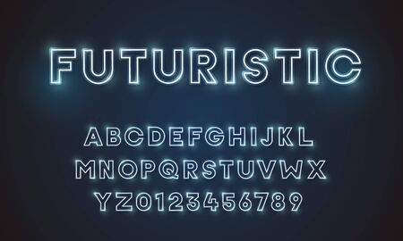 Futuristic vector font typeface unique design. For technology, digital, engineering, digital , gaming, sci-fi and science subjects. All letters and numbers included 向量圖像