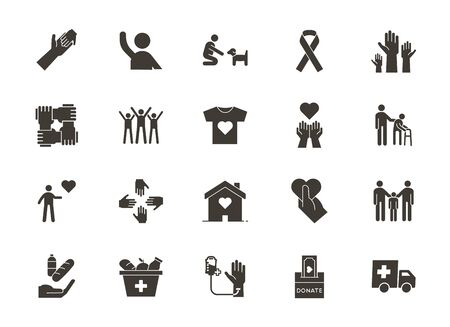 Vector flat glyph icons related with humanitarian causes - volunteering, adoption, donations, charity, non-profit organizations, business teamwork