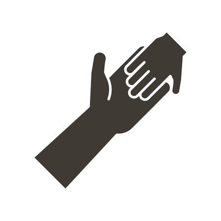 adult and child holding hands icon. Vector flat illustration. Humanitarian help, adopting a child, family ties, child poverty awareness, social issues, charity and donation Illustration