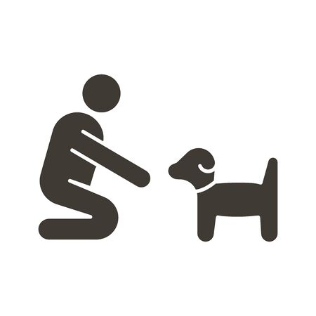 Person with small dog or puppy icon. Vector flat glyph illustration. Can fit different concepts. Pet training, adoption, helping abandoned animal, feeding, love between owner and dog. Illustration