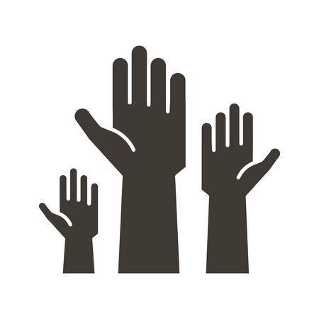 Volunteers and charity work. Raised helping hands. Vector flat glyph icon illustrations with a crowd of people ready and available to help and contribute. Positive foundation, business, service.