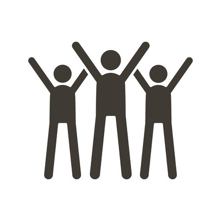 Group of people celebrating. Vector trendy flat glyph icon illustration design. Teamwork success, business partnership strategy, charity volunteers.