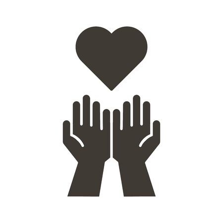 Empty hands receiving red Heart icon. Accepting love, help, kindness, donation. Vector flat glyph illustration. Symbolizes donation, help, charity, philantrophy, love, passion, kindness, peace. Illustration
