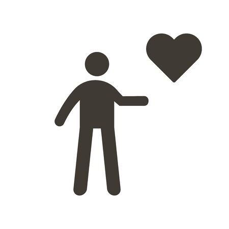 Person holding heart icon. Vector flat glyph illustration. Helping, volunteering, donation, charity, humanitarian, medical, love and happiness concepts.