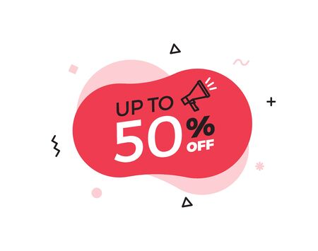 Modern abstract vector banner with up to 50% offer special sale text. 50 percent price discount. Red shape graphic design element for advertising campaigns. Vector illustration with geometric shapes and megaphone icon 向量圖像