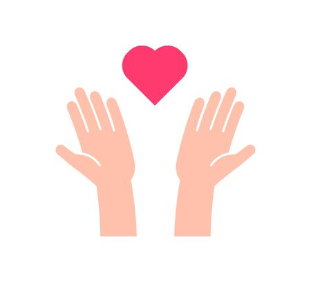 Flat icon with 2 hands receiving or sending heart. Vector illustration for charity, help, supporting, work of volunteers, donation, love and kindness