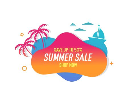 Trendy colorful summer sale banner with palmtrees, boat and waves.. Vector geometric template liquid and wavy shapes with gradient colors. Modern abstract tropical and seasonal banner design