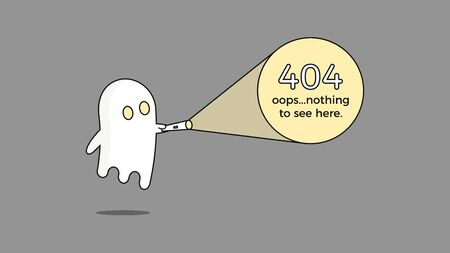 Illustration for 404 error. Vector webpage template concept for Page not found problem. Creative character design with a ghost and flashlight