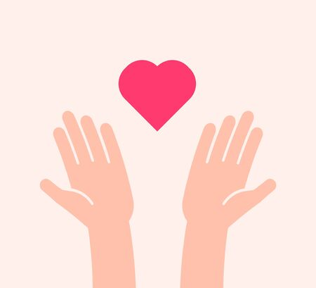 Flat background with two hands receiving or sending heart icon. Vector illustration for charity, help, supporting, work of volunteers, donation, love and kindness