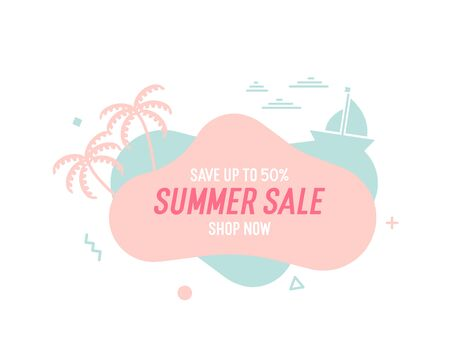 Trendy colorful summer sale banner with palmtrees, boat and waves.. Vector geometric template liquid and wavy shapes with smooth colors. Modern abstract tropical and seasonal banner design