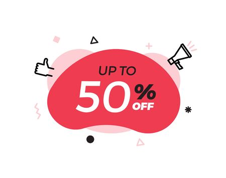 Modern abstract vector banner with up to 50% offer special sale text. 50 percent price discount. Red shape graphic design element for advertising campaigns. Vector illustration with geometric shapes, thumbs up and megaphone icon Illustration
