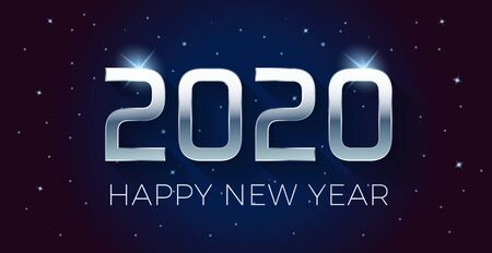 Vector Happy new year 2020 illustration with silver 3d text on a dark blue background full of stars.  For seasonal holiday web banners, flyers and festive posters Illustration