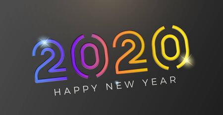 Vector Happy new year 2020 background with geometric colorful gradient text cut on a dark background. For seasonal holiday web banners, flyers and festive posters