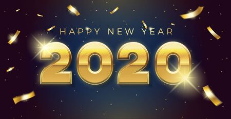 Vector Happy new year 2020 background with golden 3d text and explosion of conffeti. For seasonal holiday web banners, flyers and festive posters