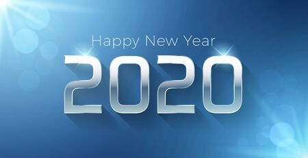 Vector Happy new year 2020 illustration with silver 3d text on a blue background. For seasonal holiday greetings web banners, flyers and festive posters Illustration