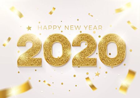 Happy new year 2020 background. Vector realistic illustration with golden glitter text on a background with conffeti falling. Greeting card, poster and banner design Illustration