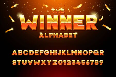 The Winner Alphabet. Vector golden glossy three dimensional font effect in orange and yellow. Metal typeface withy golden bars and stars inside. Luxury alphabet design for casino, premium business, videogames and other concepts 向量圖像